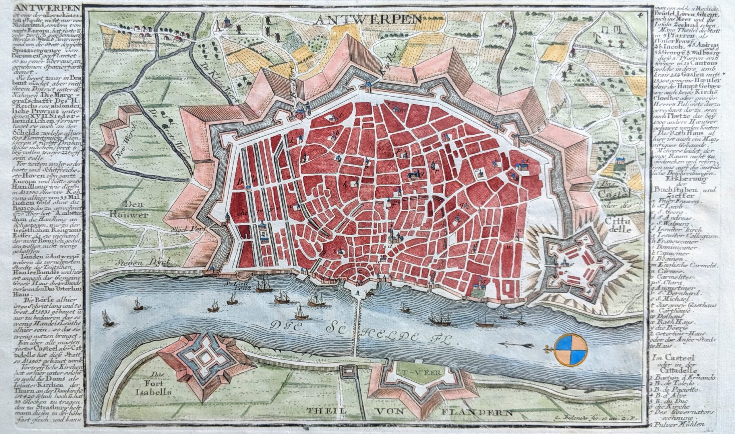 Old map map Antwerp Belgium